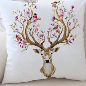 "Other - NEW Reindeer Floral White 17' x 17"" Pillow Boho"
